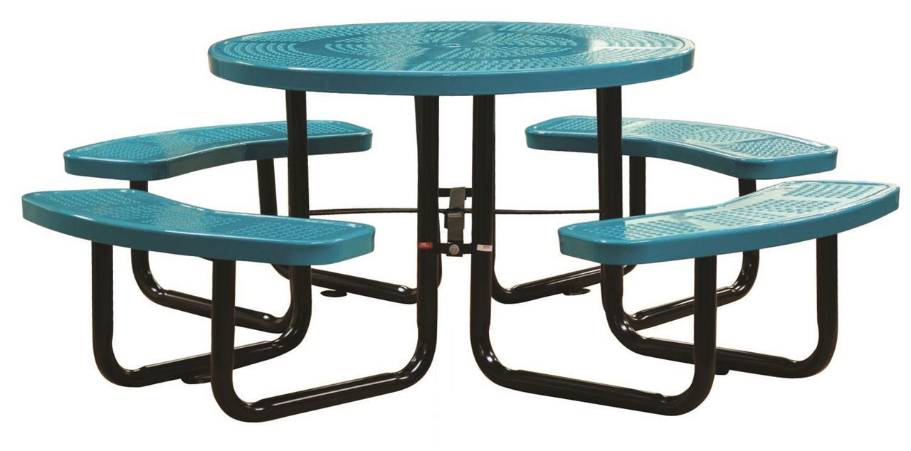 46 round thermoplastic perforated steel picnic table for Leisure craft picnic tables