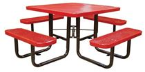 "46"" Square Thermoplastic Steel Picnic Table, Portable or Surface Mount"