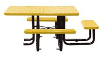 "46"" x 58"" Expanded Metal ADA Thermoplastic Picnic Table, Handicap Accessible"