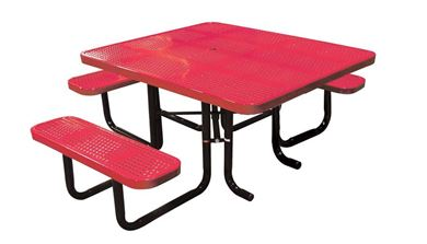 "46"" x 58"" Perforated Metal ADA Thermoplastic Picnic Table, Handicap Accessible"