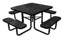 "46"" Square Perforated Thermoplastic Steel Picnic Table, Portable or Surface Mount"