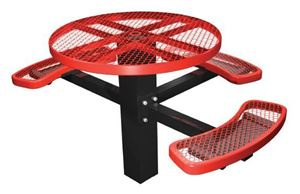 """46"""" ADA Compliant, Single Post Thermoplastic Metal Round Picnic Table 3 Seats Inground Mount"""