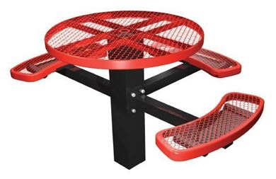 "46"" ADA Compliant, Single Post Thermoplastic Metal Round Picnic Table 3 Seats Inground Mount"