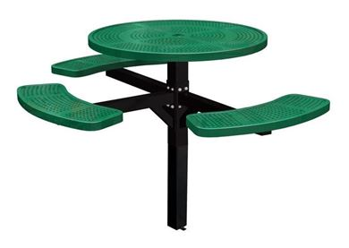 "46"" ADA Compliant, Single Post Thermoplastic Perforated Metal Round Picnic Table, 3 Seats"