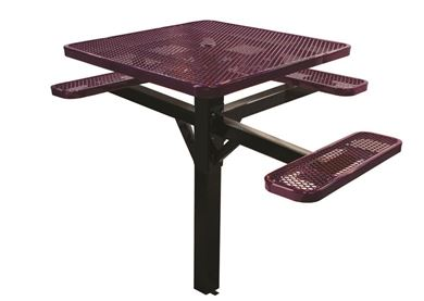 "46"" ADA Compliant, Single Post Thermoplastic Expanded Metal Square Picnic Table 3 Seat Inground Mount"