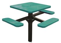 "46"" ADA Compliant, Single Post Thermoplastic Perforated Square Picnic Table, 3 Seats, Inground Mount"