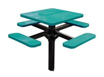 "46"" Single Post Thermoplastic Perforated Square Picnic Table Inground Mount"