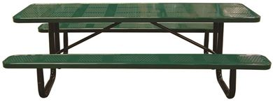 12 Ft. Rectangular Perforated Steel Thermoplastic Picnic Table Portable or Surface Mount