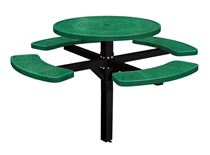 "46"" Single Post Thermoplastic Perforated Metal Round Picnic Table"