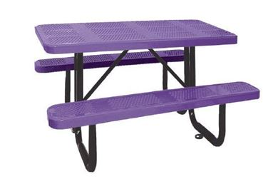 4 Ft. Rectangular Perforated Steel Thermoplastic Picnic Table Portable or Surface Mount