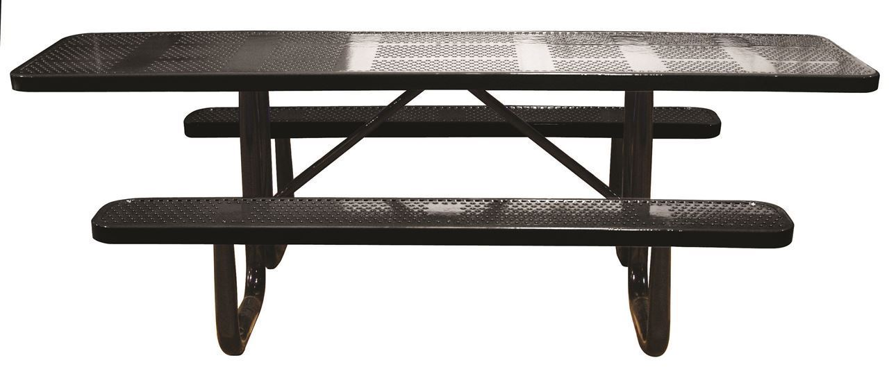 8 ft ada rectangular perforated steel thermoplastic for Leisure craft picnic tables