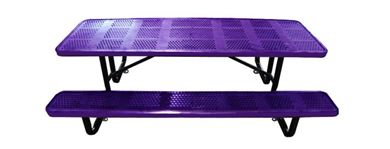8 Ft. Rectangular Perforated Steel Thermoplastic Picnic Table, Portable or Surface Mount