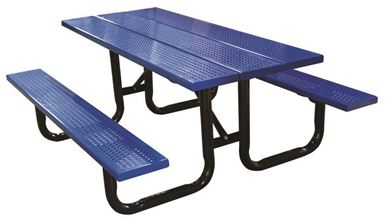 10 Ft. Perforated Steel Plank Rectangular Picnic Table, Portable or Surface Mount
