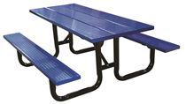8 Ft. Perforated Steel Plank Rectangular Picnic Table, Portable or Surface Mount