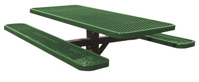 4 Ft. Single Post Thermoplastic Steel Rectangular Picnic Table, InGround Mount
