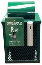32 Gallon Square Expanded Metal Trash Can Receptacle with Dog Waste Dispenser and Smoker's Outpost