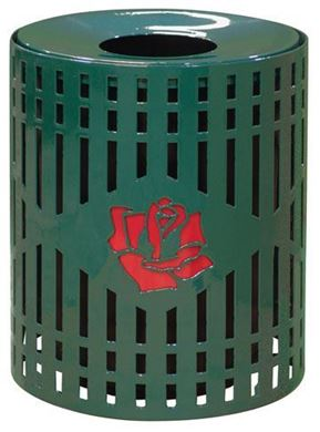 32 Gallon Personalized Logo Multicolor Diamond Perforated Trash Can Receptacle