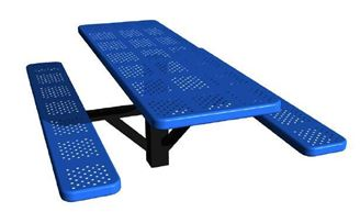 6 Ft. Single Post Perforated Thermoplastic Steel Rectangular Picnic Table, InGround Mount