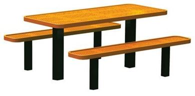 6 Ft. Permanent Mount Perforated Steel Thermoplastic Rectangular Picnic Table