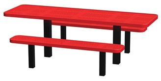 8 Ft. ADA Compliant Permanent Mount Perforated Steel Thermoplastic Rectangular Picnic Table