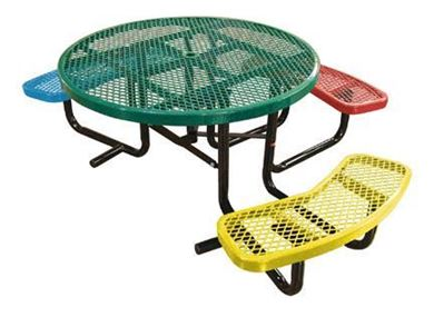 "46"" ADA Wheelchair Accessible Round Expanded Metal Children's Picnic Table, Portable, 215 lbs."