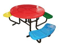 "46"" ADA Wheelchair Accessible Round Perforated Metal Children's Picnic Table, Portable"
