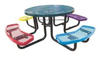 "46"" Round Expanded Metal Children's Picnic Table, Portable or Surface Mount"