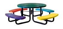 "46"" Round Perforated Metal Children's Picnic Table, Portable or Surface Mount"