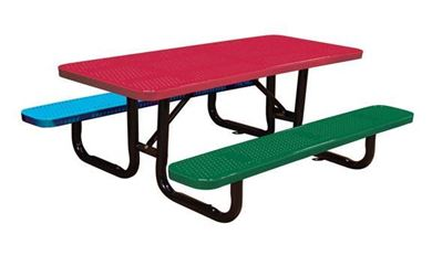 6 Ft. Children's Rectangular Thermoplastic Perforated Steel Picnic Table