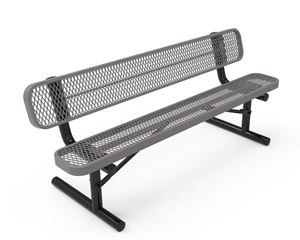 RHINO Quick Ship 8 Foot Thermoplastic Bench with Back, Portable Expanded Metal