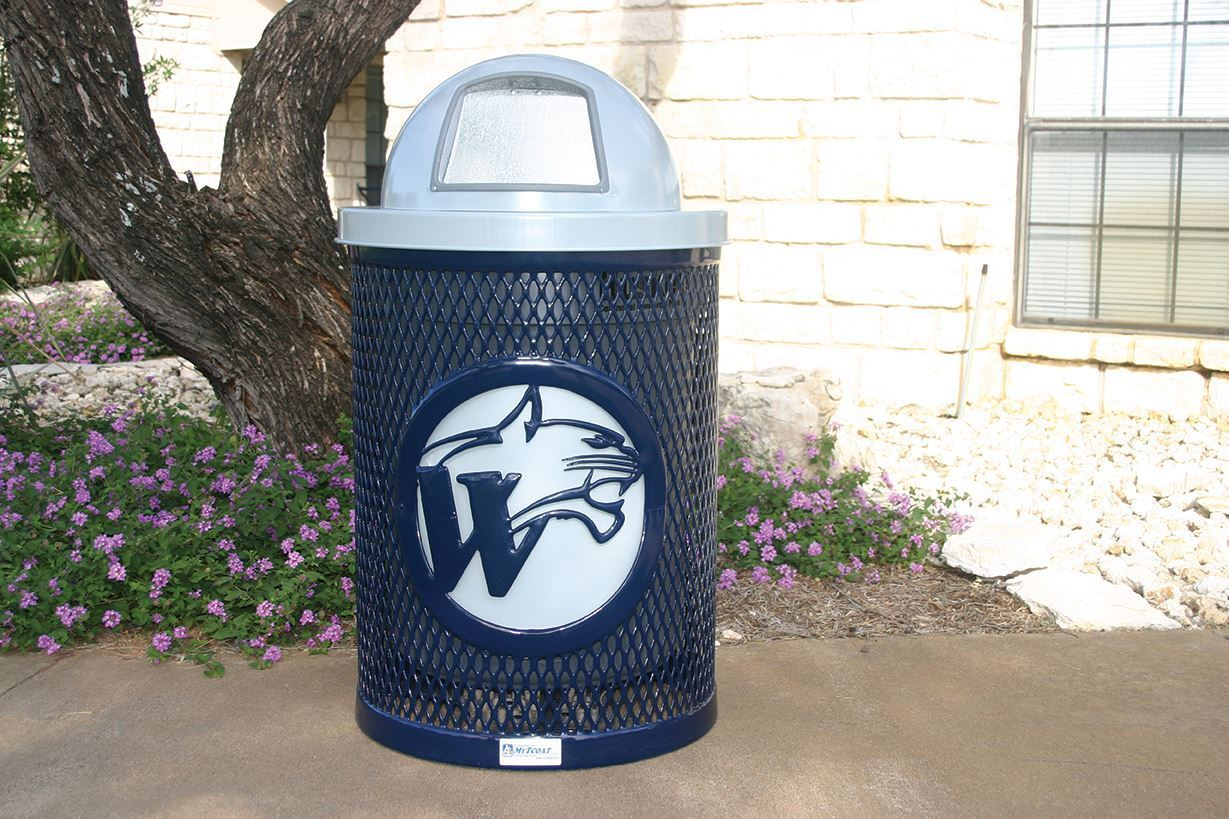 logo 32 gallon trash can rhino with dome top