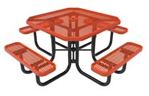 RHINO Octagonal Thermoplastic Steel Picnic Table Portable Expanded Metal