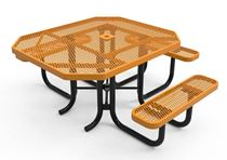 RHINO Quick Ship ADA Octagonal Thermoplastic Picnic Table, Universal Access, Portable