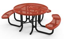 RHINO Expanded Metal ADA 3 Seat Round Thermoplastic Picnic Table Universal Access