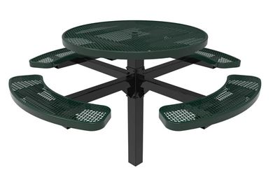 RHINO Round Pedestal Picnic Table, Inground Mount Expanded Metal