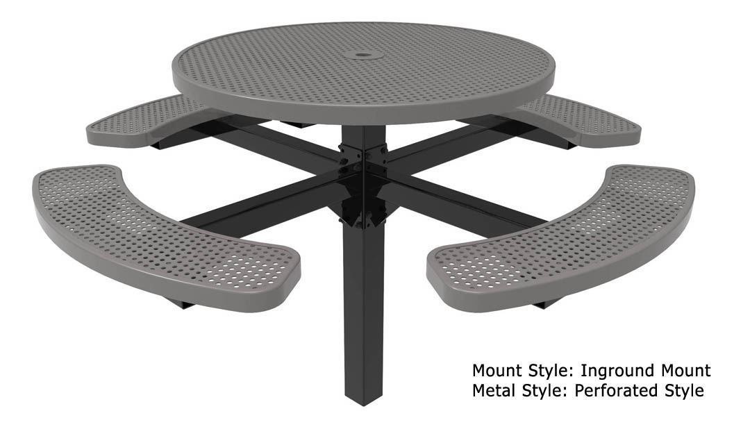 Rhino Round Pedestal Thermoplastic Steel Picnic Table