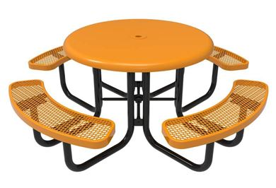 RHINO Round Solid Top Thermoplastic Steel Picnic Table, Portable, Quick Ship