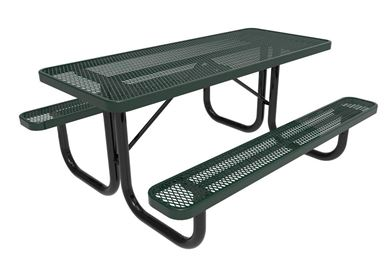 RHINO Quick Ship Rectangular 6 Foot Thermoplastic Picnic Table, Portable - Expanded Metal