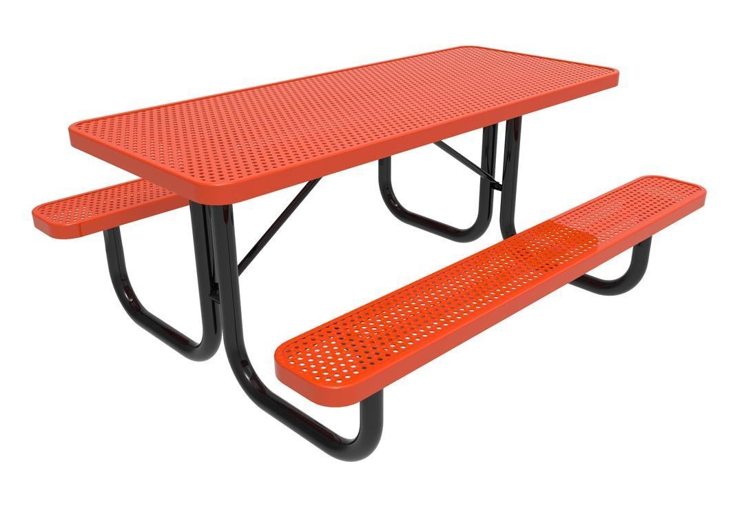 ... RHINO Quick Ship Rectangular 6 Foot Thermoplastic Picnic Table, Portable    Expanded Metal ...