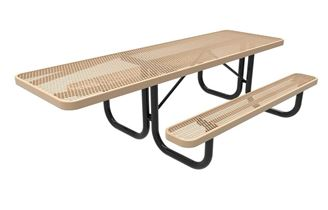 RHINO Quick Ship ADA Rectangular 8 Foot Thermoplastic Picnic Table, Portable, Handicap Accessible - Expanded Metal
