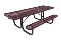 RHINO ADA Rectangular 8 Foot Thermoplastic Picnic Table, Portable, Wheelchair Accessible on Both Ends