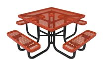 RHINO Square Thermoplastic Steel Picnic Table Quick Ship