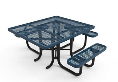 RHINO Quick Ship ADA Square Thermoplastic Picnic Table, 3 Seats, Portable