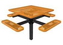 RHINO Square Pedestal Thermoplastic Steel Picnic Table,  Inground Quick Ship