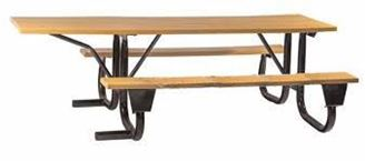 8 ft ADA Wheelchair Accessible Wood Picnic Table with Welded Galvanized Steel Frame