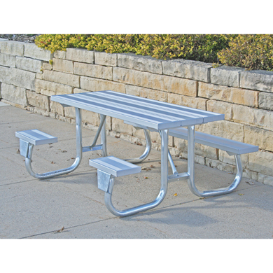 8 ft ADA Wheelchair Accessible Aluminum Picnic Table Welded Galvanized Steel Frame
