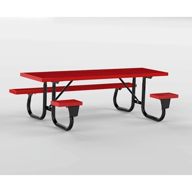 8 ft ADA Wheelchair Accessible Plastisol Picnic Table with Welded Galvanized Steel Frame