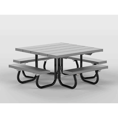 Square Aluminum Picnic Table Galvanized Steel Frame