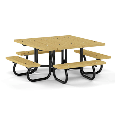 "48"" Square Wood Picnic Table with Galvanized 1 5/8"" Steel Frame"