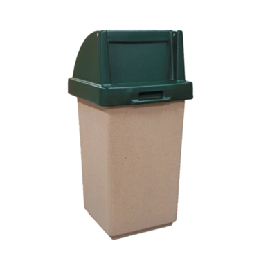 30 Gallon Concrete Trash Receptacle with Self Closing Top